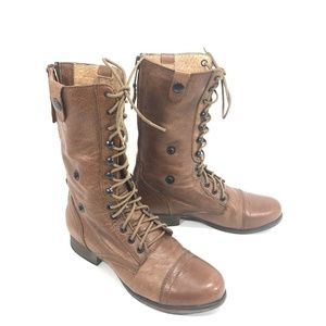 Steve Madden Brown Leather Fold Down Combat Boots
